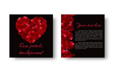 Chic background with red rose petals in the shape of a heart for a greeting card in a romantic style.
