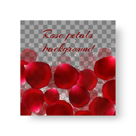 Invitation template with gorgeous red rose petals for a romantic decoration