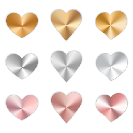 A collection of bright polished hearts for a romantic design for Valentine's Day, design cards for mother's day, March 8 and birthday. Vector illustration on white background. Çizim