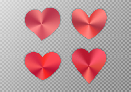 A set of red hearts with a metal texture for a romantic design of congratulations for Valentines Day, design cards for Mothers Day, March 8 and birthday. Vector illustration on a transparent background.