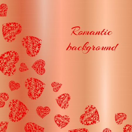 Romantic background with bright red lace hearts on a gold backdrop. Vector illustration for Valentines day design.