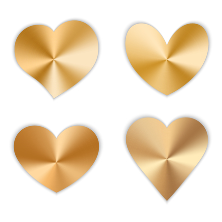 A set of gold hearts with a metallic texture for a romantic design for Valentines Day, design cards for Mothers Day, March 8 and birthday. Vector illustration on white background.