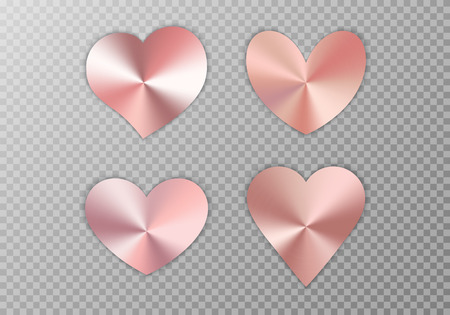 A collection of hearts with rose gold texture for a romantic greeting design for Valentines Day, design cards for Mothers Day, March 8 and birthday. Vector illustration on a transparent background.  イラスト・ベクター素材