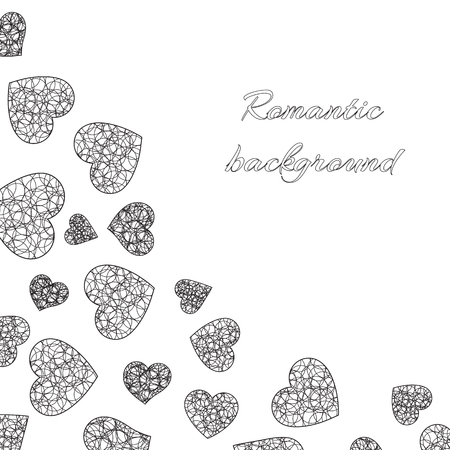 Monochrome vector illustration with lace hearts on a white background for a romantic design of congratulations on Valentines Day