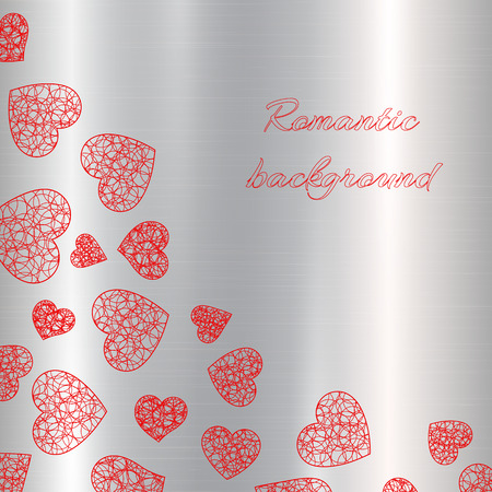 Bright openwork red hearts fall on a metallic silver background. Vector illustration for holiday greetings design for valentines day, birthday, mothers day or womens day