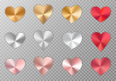 A set of shiny polished hearts with a metal texture for a romantic design of congratulations for Valentine's Day, design of cards for mother's day, March 8 and birthday. Vector illustration on a transparent background. Illustration