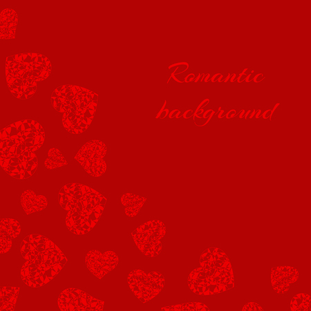 Romantic background with bright openwork hearts for festive decoration of congratulations for Valentines Day, birthday, mothers day or womens day