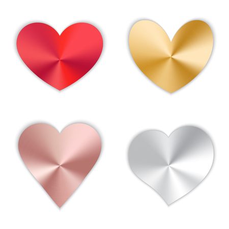 A set of bright shiny hearts with a metallic texture for a romantic design for Valentine's Day, design cards for Mother's Day, March 8 and birthday. Vector illustration on white background.