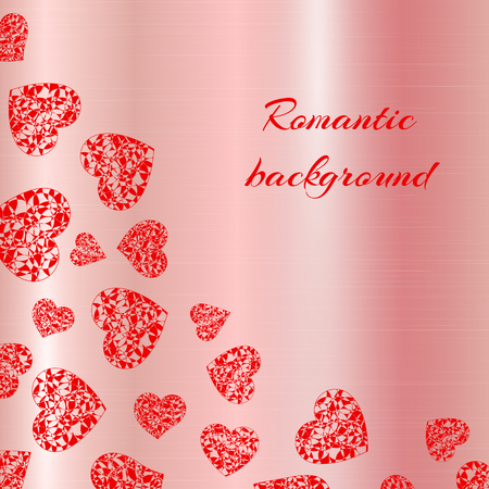 Bright openwork hearts on a metallic background with rose gold texture. Romantic vector illustration for valentines day