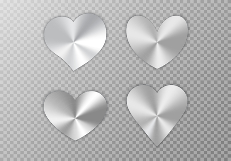A set of silver hearts with a conical metallic gradient for a romantic design of congratulations for Valentines Day, the design of cards for Mothers Day, March 8 and birthday. Vector illustration on a transparent background.