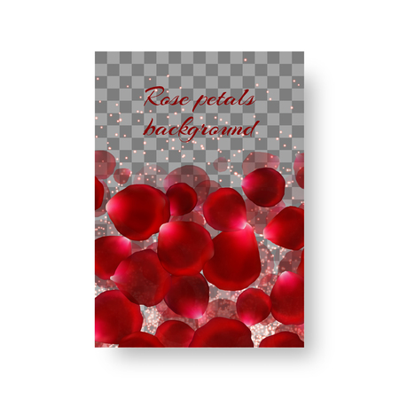 Birthday invitation template with red rose petals