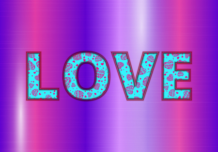 Bright romantic background with red hearts on a purple shiny backdrop