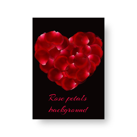 A leaflet template with red rose petals for a romantic design