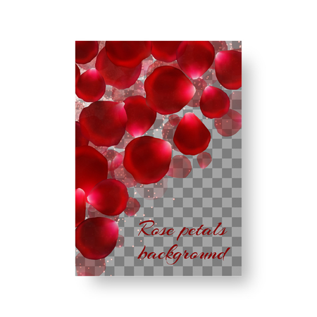 Wedding invitation card in a romantic style with red rose petals