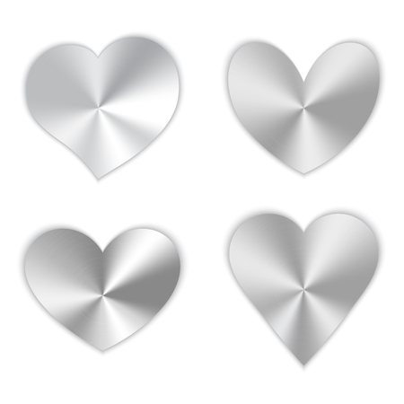 A collection of polished silver hearts for a romantic design for Valentine's Day, design cards for mother's day, March 8 and birthday. Çizim