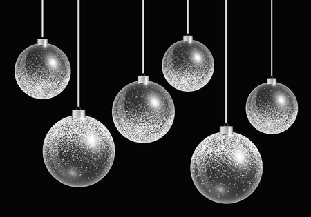 Shiny Christmas balls on a black background. Vector illustration with silvery shine