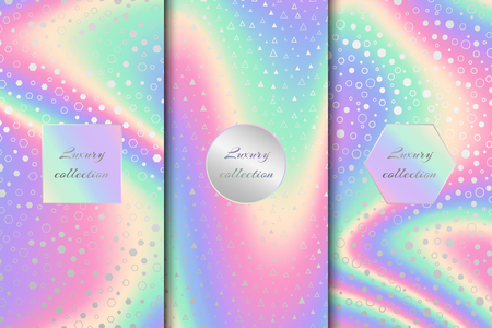 A bright collection of holographic backgrounds. Multicolor vector illustration.  イラスト・ベクター素材