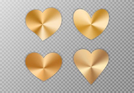 A collection of hearts with a golden metallic texture for a romantic greeting design for Valentine's Day, design cards for Mother's Day, March 8 and birthday. Vector illustration on a transparent background.