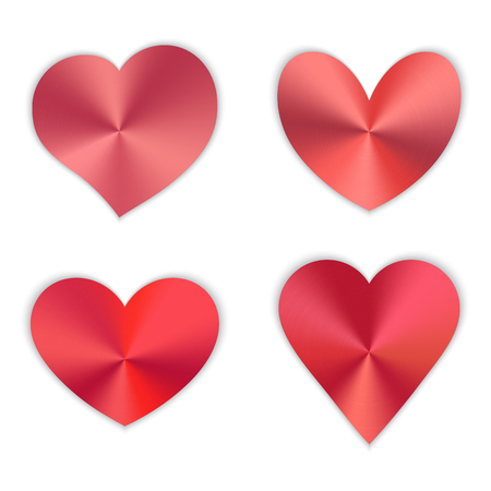 A collection of bright red hearts for a romantic design for Valentines Day, design cards for mothers day, March 8 and birthday. Vector illustration on white background.