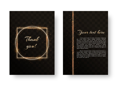Bright cover with gold laser frame and sparkles on a transparent background