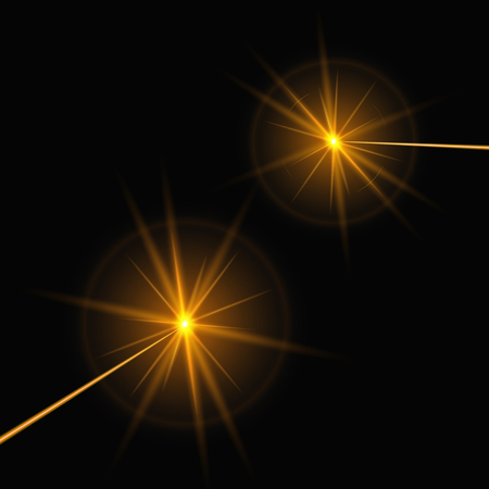 Yellow laser rays on a black background. Bright vector illustration with light effect