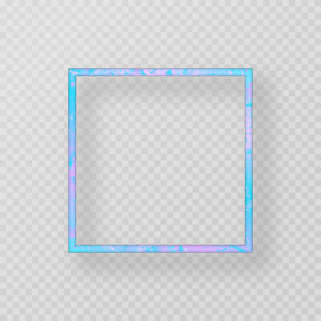 Colorful blue frame with neon effect on a transparent background  イラスト・ベクター素材