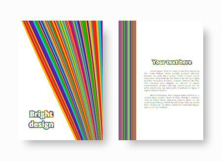 Bright greeting card with colorful stripes of different widths. Vector illustration with blue, green, yellow, orange, pink lines. Stok Fotoğraf - 132112346