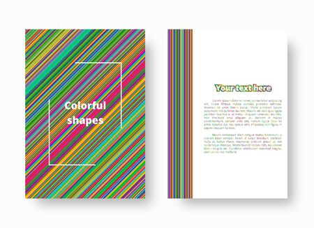 A colorful template with geometric patterns of multicolor stripes for the design of cards. Vector illustration with blue, green, yellow, orange, pink lines.