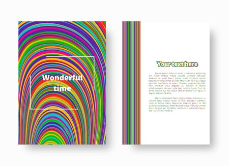 Bright greeting card with geometric multicolored striped pattern. Vector illustration with blue, green, yellow, orange, pink lines.