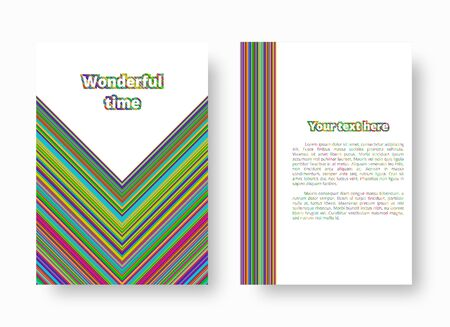 Postcard template with colorful bright stripes. Vector illustration with blue, green, yellow, orange, pink lines.