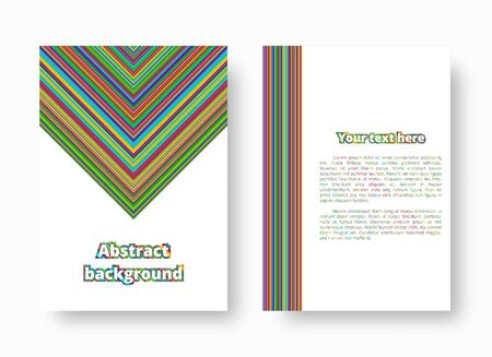 Bright invitation template with colorful stripes of rainbow colors. Vector illustration with blue, green, yellow, orange, pink lines.