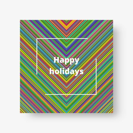 Colorful square cover with bright multi-colored stripes. Vector illustration