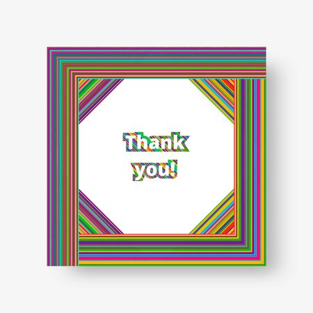 Colorful square cover with bright multi-colored stripes. Vector illustration with blue, green, yellow, orange, pink lines.