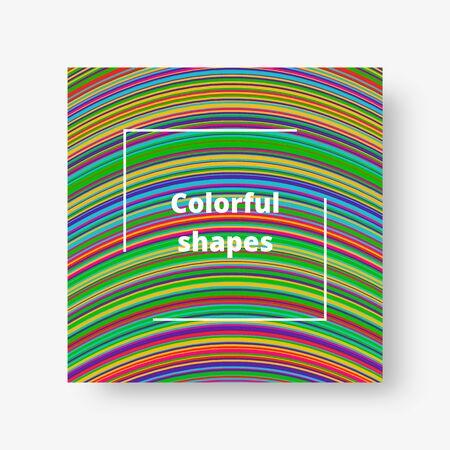 Bright square card with geometric multicolored striped pattern. Vector illustration