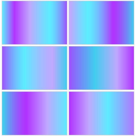A collection of bright blue gradients with a metallic texture effect for decoration of banners, greetings and cards. Vector illustration with shiny plates.