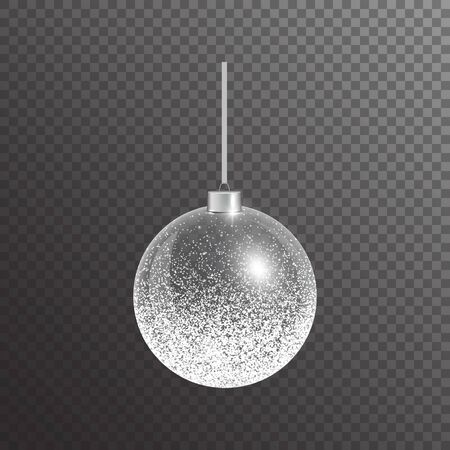 Christmas ball on a transparent background. Bright jewelry with a silver light effect.