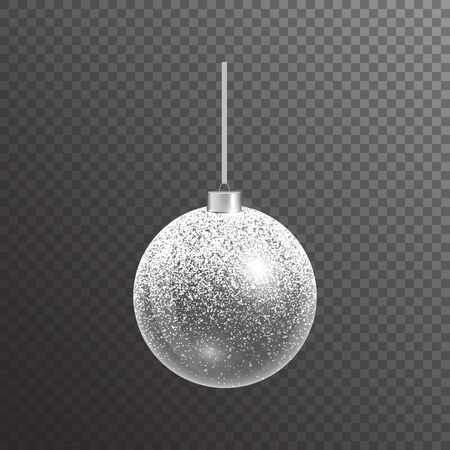 Christmas decorative ball with silver sparkles. Brilliant illustration with light effect.