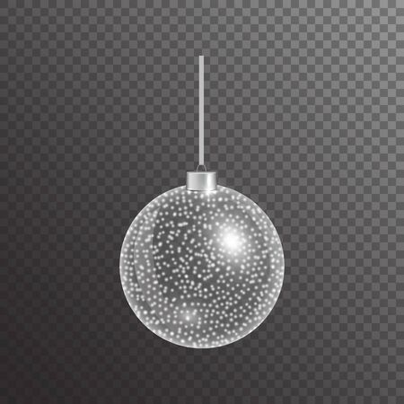 Christmas ball with shiny silver lights on a transparent background. Colorful element of New Year's decor.