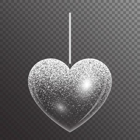 Transparent heart with bright silver sparkles for decorating Valentines Day greetings. Christmas vector illustration.  Ilustração