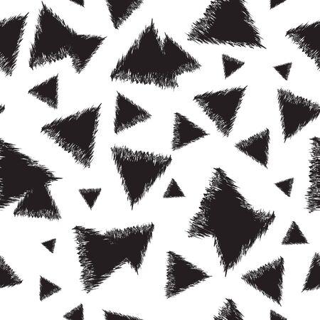 Motif monochrome sans couture avec des triangles. Illustration vectorielle décorative.
