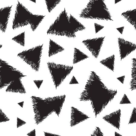 Seamless monochrome pattern with triangles. Decorative vector illustration.
