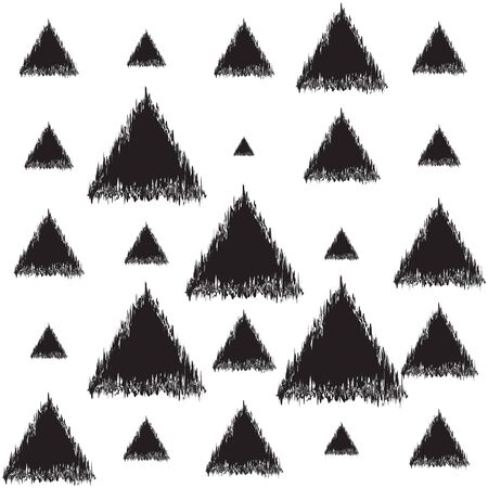 Seamless black and white texture with triangles. Decorative vector illustration.