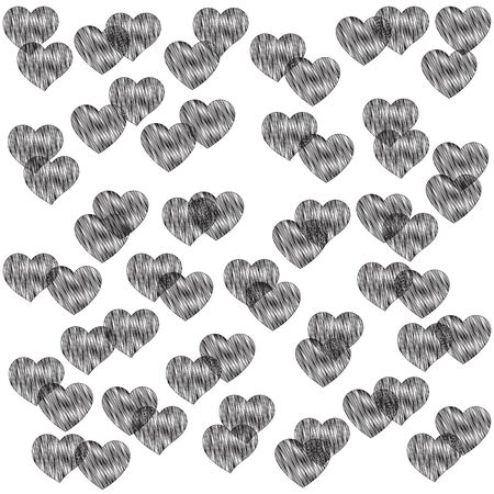 Black and white backdrop with curly hearts for decoration