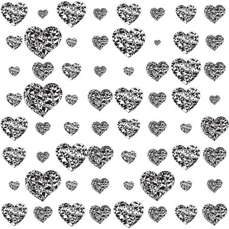 Black and white  with curly hearts