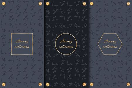A set of chic backgrounds with arrows and gold decor for the decoration of luxury goods.