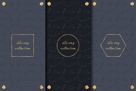 A collection of dark backgrounds with arrows and gold elements to decorate luxury goods.