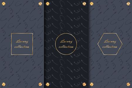 A collection of black backgrounds for the design of luxury goods with gold elements and arrows.