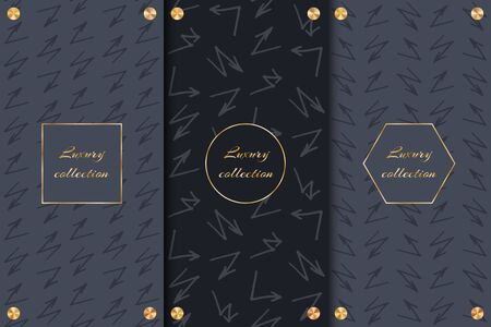Set of design elements for packaging luxury goods with arrows and golden round discs on a black background.