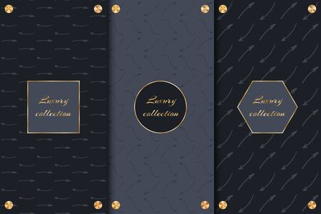 Set of design elements for packaging luxury goods with arrows, frame and golden round discs on a black background.