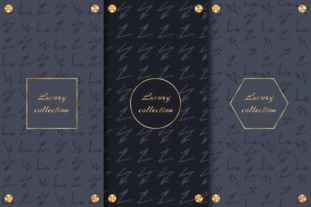 A collection of black backgrounds for the design of luxury goods with arrows and gold elements. Ilustracja